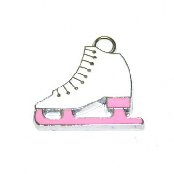 1pce x 24*20mm Rhodium plated pink/white ice skate boot enamel charm - S.D03 - CHE1048
